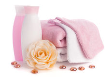 Isolated pink accessory for spa or sauna. Pink accessory for spa or sauna over white background Royalty Free Stock Image