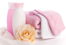 Isolated pink accessory for spa or sauna Royalty Free Stock Photos