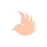 Isolated pink color flying bird side view vector logo. Animal logotype. Wings contour icon. Pigeon silhouette Royalty Free Stock Images