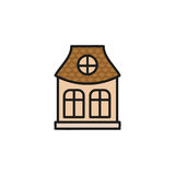 Isolated pink color low-rise municipal house in lineart style icon, element of urban architectural building vector Stock Photography