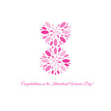 Isolated pink color number eight of petals icon, international women day greeting card element vector illustration. Royalty Free Stock Image