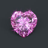 Pink heart shaped diamond isolated. Purplish pink diamond heart cutting with sparkling dazzling glare. Eternity, forever love, Valentine element Royalty Free Stock Images