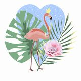 Isolated Pink Flamingo, palm leaves, flowers on a heart background