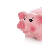 Isolated pink piggy bank on white background. Royalty Free Stock Photos