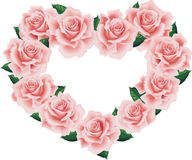 Isolated Pink Rose Heart Stock Images