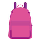 Isolated pink school bag. On a white background, Vector illustration Stock Images