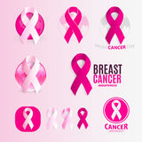 Isolated pink and white color ribbons logo set. Against cancer logotype collection. Stop disease symbol. International Stock Photos