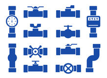 Isolated pipes set. Isolated blue pipes set on white background Royalty Free Stock Photos