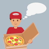 Isolated pizza deliveryman character. Royalty Free Stock Photos
