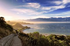 Scenic landscape of beautiful ray of light at sunset, Kaikoura, New Zealand royalty free stock photo