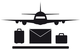 Isolated plane, envelope and luggage Stock Images