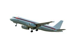 Isolated Plane on takeoff. Aircraft on takeoff (isolated clipping path included stock image