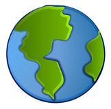 Isolated Planet Earth Clip Art. An illustration of the planet earth in green and blue colors isolated on a white background Stock Image