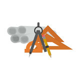 Isolated plans and ruler of construction design Royalty Free Stock Photo