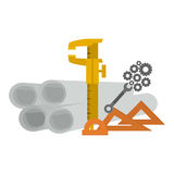 Isolated plans and ruler of construction design Stock Image