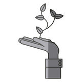Isolated plant over hand design Royalty Free Stock Photos