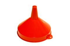 Isolated Plastic Funnel. Isolated Red plastic funnel stock images