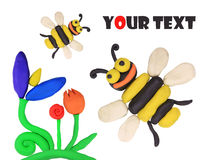 Isolated plasticine bees Stock Photo