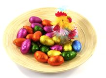 An isolated plate of bamboo with Easter eggs and a chicken Royalty Free Stock Images