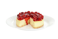 Isolated plate of cherry cheesecake Stock Image