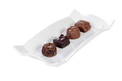 Isolated Plate of chocolates Stock Image