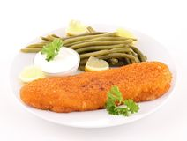 Isolated plate of fried fish Royalty Free Stock Image