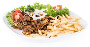 Isolated plate with Kebab and Chips Royalty Free Stock Image