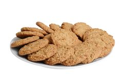 Isolated plate of oatmeal cookies stock images
