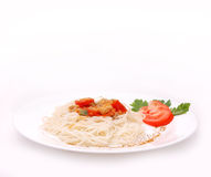 Isolated plate of spaghetti Royalty Free Stock Image