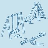 Isolated playground objects on blue Royalty Free Stock Images