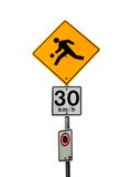 Isolated Playground Traffic Sign. With speed limit sign Stock Photos