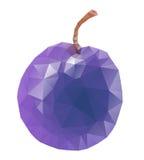 Isolated plum. Stylized polygonal plum isolated on a white background Royalty Free Stock Photos