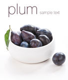 Isolated plums with on white background Royalty Free Stock Photo