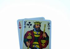 Poker cards. Isolated poker cards on white background Royalty Free Stock Photo