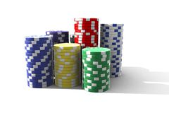 Isolated poker chips royalty free stock photos