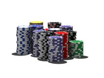 Isolated poker chips Royalty Free Stock Photo