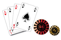 Isolated poker playing cards and bet ships in ve Royalty Free Stock Photos