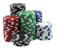 Isolated poker tokens Royalty Free Stock Images