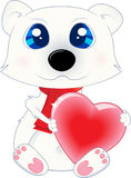 Isolated Polar Bear. With heart for your love theme illustration Royalty Free Stock Photos