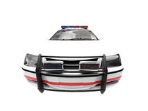 Isolated police white car. Isolated police car on a white background Stock Photo