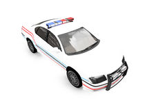 Isolated police white car. Isolated police car on a white background Stock Photos