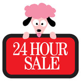 Isolated poodle holding sign Royalty Free Stock Image