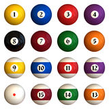 Isolated pool balls. Sixteen pool balls isolated on a white background (3D rendering stock illustration