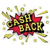 Isolated Pop Art Emblem Cash Back. Stock Photography