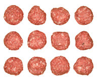 Isolated Pork Meatballs. Many raw pork meatballs. Isolated on white Royalty Free Stock Image