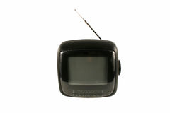 Isolated portable tv set with antenna Stock Photo
