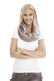 Isolated portrait of attractive blonde successful woman with cro Stock Images