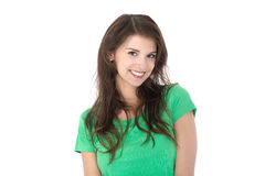 Isolated portrait of attractive brunette young smiling woman. Royalty Free Stock Photo