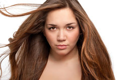 Isolated portrait of a beautiful girl with elegant hair Stock Photography