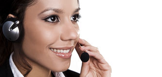 Isolated portrait of a beautiful helpdesk Royalty Free Stock Photography